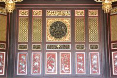 Chinese Motif Wooden Partition. Found at an old Chinese Clan House Stock Photo