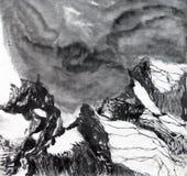 chinese mountain printing scene sky 库存例证