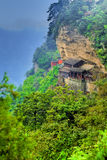 Chinese mountain temple. View over the Wudang Shan Temple and area in mountainous Hubei district, China Stock Photography