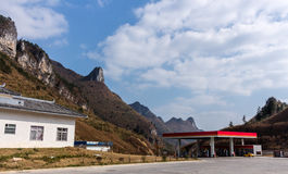 Chinese mountainous gas station Royalty Free Stock Photography