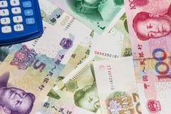 Chinese munt en calculator Royalty-vrije Stock Afbeelding