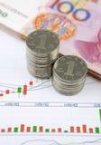 Chinese munt en Muntstukken met grafiek Stock Foto