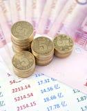 Chinese munt op grafiek Royalty-vrije Stock Foto's