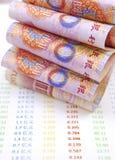 Chinese munt voor rekeningen Royalty-vrije Stock Foto's