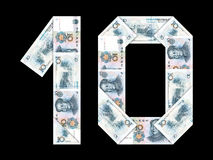 Chinese muntrenminbi: 10 geïsoleerde yuans Royalty-vrije Stock Fotografie