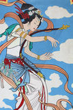 Chinese mural. Chinese girl play the music, Chinese mural Stock Photos
