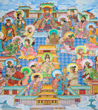 Chinese mural painting art. Traditional Chinese mural on temple wall Royalty Free Stock Images