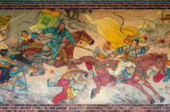 Chinese mural paintings. Chinese mural showing a battle Royalty Free Stock Photography