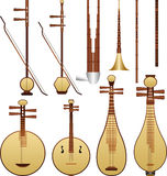 Chinese music instruments. Layered vector illustration of different  Chinese music instruments with white background Stock Image