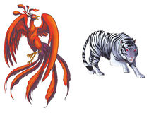 4 Chinese mythical creature gods set 1 - Tiger and Royalty Free Stock Images
