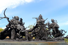 Chinese mythology statues in Chinese temple Royalty Free Stock Photo