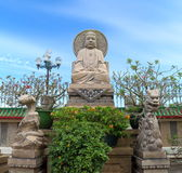 Chinese mythology statues in Chinese temple Stock Photo