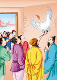 CHINESE MYTHS&LEGENDS Yellow Crane Tower. CHINESE MYTHS&LEGENDS:Yellow Crane Tower. Immortal lu dongbin drew a crane on the wall, the guests are more,  it Royalty Free Stock Photo