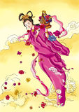 CHINESE MYTHS&LEGENDS Fairy sending flowers Royalty Free Stock Photography