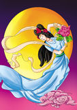 CHINESE MYTHS&LEGENDS the Goddess Chang's fly to the moon Royalty Free Stock Photo