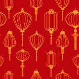 Chinese Naadloze het Patroonachtergrond van het Nieuwjaarbehang stock illustratie
