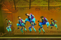 Chinese national dancers perform folk dance Royalty Free Stock Image