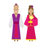 Chinese national dress vector illustration