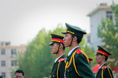 The Chinese national flag ceremony Stock Photo