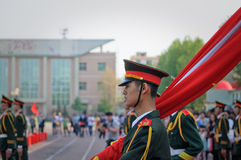 The Chinese national flag ceremony Stock Images