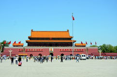 Chinese national flag waving in the main entrance in Forbidden city Beijing, China Royalty Free Stock Images