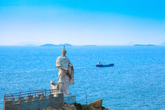 Chinese national hero statue in the sea Stock Photos