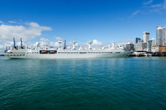 Chinese navy ship. AUCKLAND,NZ - May 26:The Yuan Wang 6 berthed on May 29 2013.A Chinese navy ship used to track spacecraft and missiles has berthed in Auckland Royalty Free Stock Images