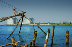 Chinese nets in Kochi Stock Photos