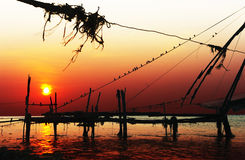 Chinese nets at sunset Stock Photography