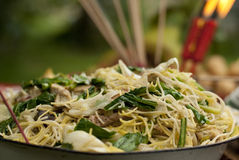Chinese New Year. A bowl of fried noodles as Chinese New Year offering Royalty Free Stock Photos