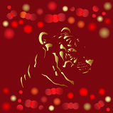 Chinese new year 2010 gold card. Gold tiger head on glowing holiday light background Royalty Free Stock Photography