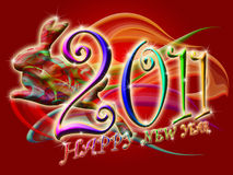 Chinese New Year 2011 Colorful Leaping Rabbit. With Swirls Illustration Stock Photo