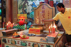 Chinese New Year 2012 - Bangkok , Thailand. BANGKOK - JANUARY 23 : Chinese New Year 2012 - Praying in temple in Chinatown, Bangkok, Thailand Stock Images