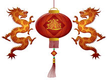 Chinese New Year 2012 Lantern Dragons. Happy Chinese New Year 2012 Red Lanterns with Wealth Symbols and Dragons Illustration Royalty Free Stock Image