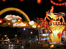 Chinese New Year. Coloured Lights of Chinese New Year in Singapore Stock Photography