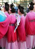 Chinese new year 5. Women in colourful traditional chinese costume at chinese new years day parade Royalty Free Stock Photography