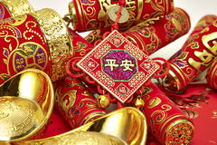 Chinese New Year. Assorted chinese new year decorations on red background stock photography