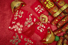 Chinese New Year. Assorted chinese new year decorations on red background royalty free stock images