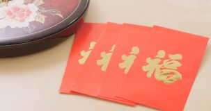 Chinese new year assorted snack box with red pocket, red poacker. With a chinese word meaning luck Royalty Free Stock Photography