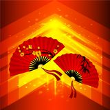Chinese New Year Background. Abstract vector background with Chinese fans. Beautiful scarlet fans with cherry blossoms royalty free illustration