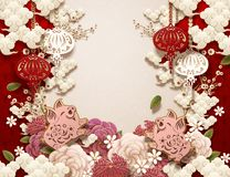 Chinese new year background. Blank Chinese new year background design with piggy, peony, and lanterns in paper art syle vector illustration