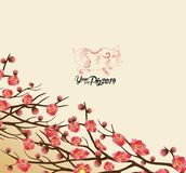 Chinese new year 2019 background blooming sakura branches.  stock illustration