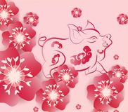 Chinese new year 2019 background blooming sakura branches.  vector illustration