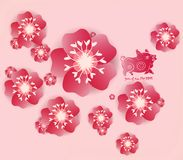 Chinese new year 2019 background blooming sakura branches. Year of the pig.  royalty free illustration