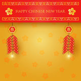 Chinese new year background. Chinese new year celebration with firecrackers on red and gold background Stock Photo