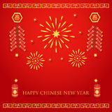 Chinese new year background. Chinese new year celebration with fireworks and firecrackers on red background Royalty Free Stock Photo