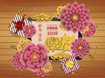Chinese new year 2019 background. Chinese characters mean Happy New Year. Year of the pig.  stock illustration