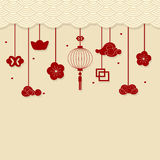 Chinese new year background with Chinese New Year decorative ele. Ments. Vector Illustration royalty free illustration