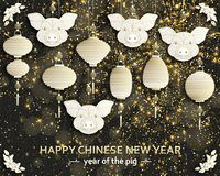 Chinese New Year background with creative stylized pig royalty free stock photos