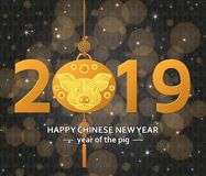 Chinese New Year background with creative stylized pig royalty free illustration